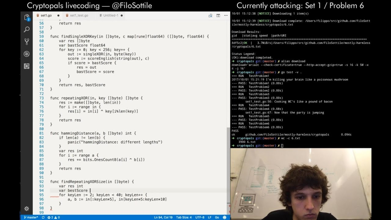 Livecoding Cryptopals in Go on Twitch – Set 1