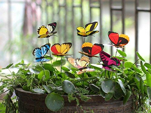 Ginsco 25pcs Butterfly Stakes Outdoor Yard Planter Flower Pot Bed Garden Decor Butterflies Christmas Decorations